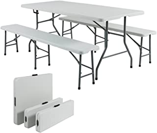 Portable 6ft Folding Table & Benches Indoor Outdoor Picnic Party Home Kitchen Dining White Resin Furniture Set #1609