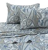 Tribeca Living PAPARK4PSSKI 300 TC Cotton Deep Pocket Sheet Set, King, Paisley Park Multi