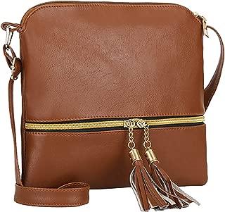 TCHH-DayUp Lightweight Medium Dome Crossbody Bag with Tassel Zipper Pocket Adjustable Strap