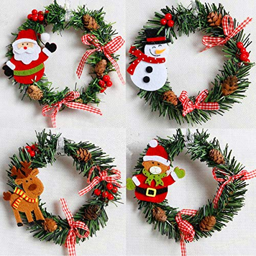 4 Pcs Christmas Pine Wreaths, 6Inches Xmas Wreath for Front Door Christmas Holiday Indoor Home Decorations (Pine Wreath, Pack of 4)
