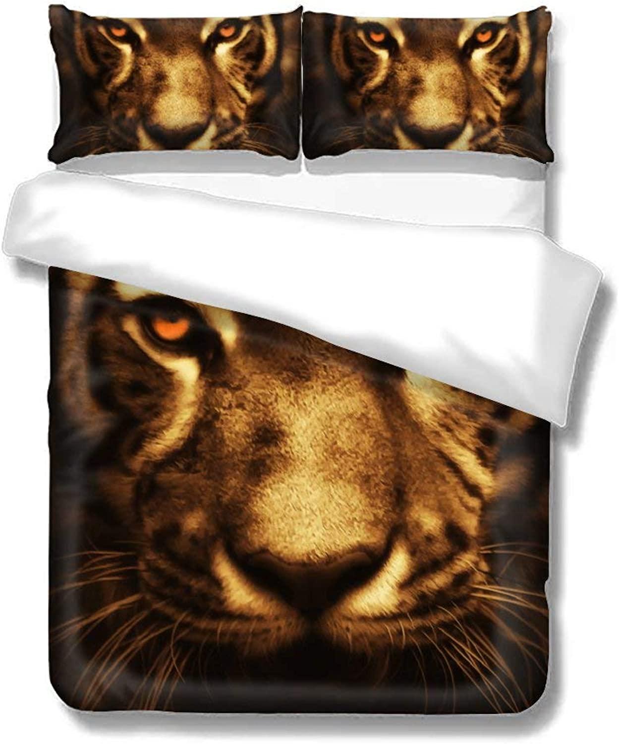 Set of Three On The Bed Tiger Mighty Ferocious Animal Feline Home Bedding Duvet Cover Set Bed Sheets Set Soft Comfortable Breathable King Size