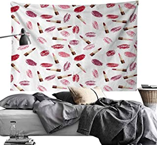 Homrkey Bed Linen Tapestry Cosmetics Beauty Theme Pink and Burgundy Lipstick and Kiss Pattern Makeup Concept Hippie Tapestry W90 x L59 Burgundy and Pink