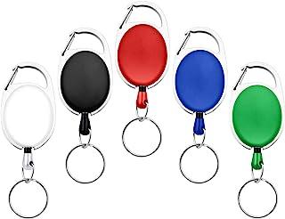 Fushing 5 couleurs porte-badges rétractable mousqueton bobines porte-clés chaînes avec métal bague fendue