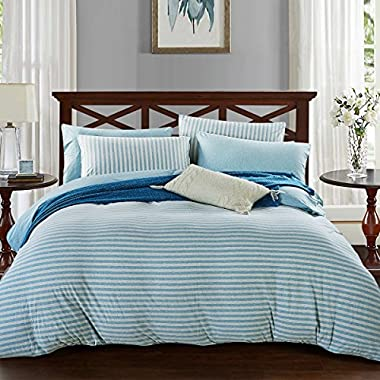 PURE ERA Heather Jersey Knit Cotton Home Bedding Sets Striped Comforter Duvet Cover and 2 Pillow Shams Mint Grey Queen Size