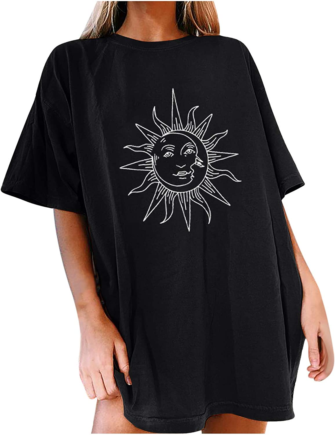 Sun and Moon Graphic Tees for Women Oversized Vintage Trendy Sho
