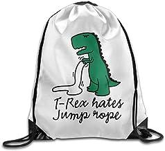SDFGSE T-Rex Hates Jump Rope Print Drawstring Backpack Rucksack Shoulder Bags Gym Bag Sport Bag