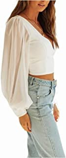 HEFASDM Women's Short Blouse V Neck Cropped Puff Sleeve Sexy Tees Top
