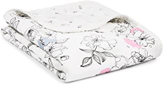 Aden and Anais Meadowlark Silky Soft Bamboo Stroller Blanket, Pink, White