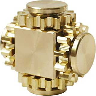 DMaos Fidget Cube Spinner, Linkage 4 Gears Figity Spin Finger Games, Smooth Metal Brass, Durable Mechanics Romoveable EDC, Figit Desk Toy for Adults Kids - Gold