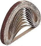 Gewebe-Schleifbänder │ 48 Stück │ 10 x 330 mm │ je 8 x Korn 40/60/80/120/180/240 │ kompatibel mit Bandfeilen │ Schleifpapier │ Schleifband-Mixpack