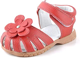 f63e2dba5ff30 Femizee Girls Genuine Leather Soft Closed Toe Princess Flat Shoes Summer  Sandals(Toddler/Little
