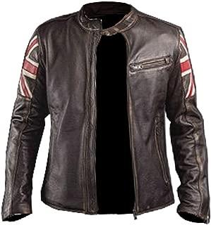 Mens Union Jack UK Flag Vintage Brown Cafe Racer Biker Motorcycle Leather Jacket
