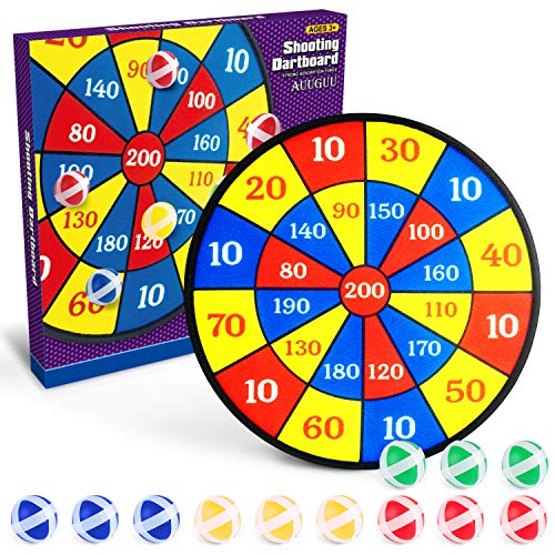 """AUUGUU Dart Board Game for Kids – 14"""" Dartboard with 12 Sticky Balls – Outdoor Indoor Fun for up to 4 Players Dart Balls – Classic Toy Gift for Boys Girls 3 4 5 6 7 8-12 Years Old"""