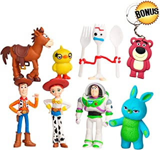 YFTTW Toy Story Toys Action Figures with Woody, Buzz and Rex – Premium Animated Collection with Keychain Included – Fun Party Supplies for Toddlers
