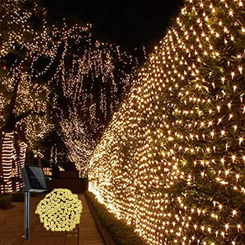 Guirnaldas Neta Luz Exterior Luz de jardín con energía Solar 1.5x1.5M 100LED Cadena Solares de Malla para Envoltura de árboles Césped Patio Trasero Decoración navideña Interior(Blanco cálido)