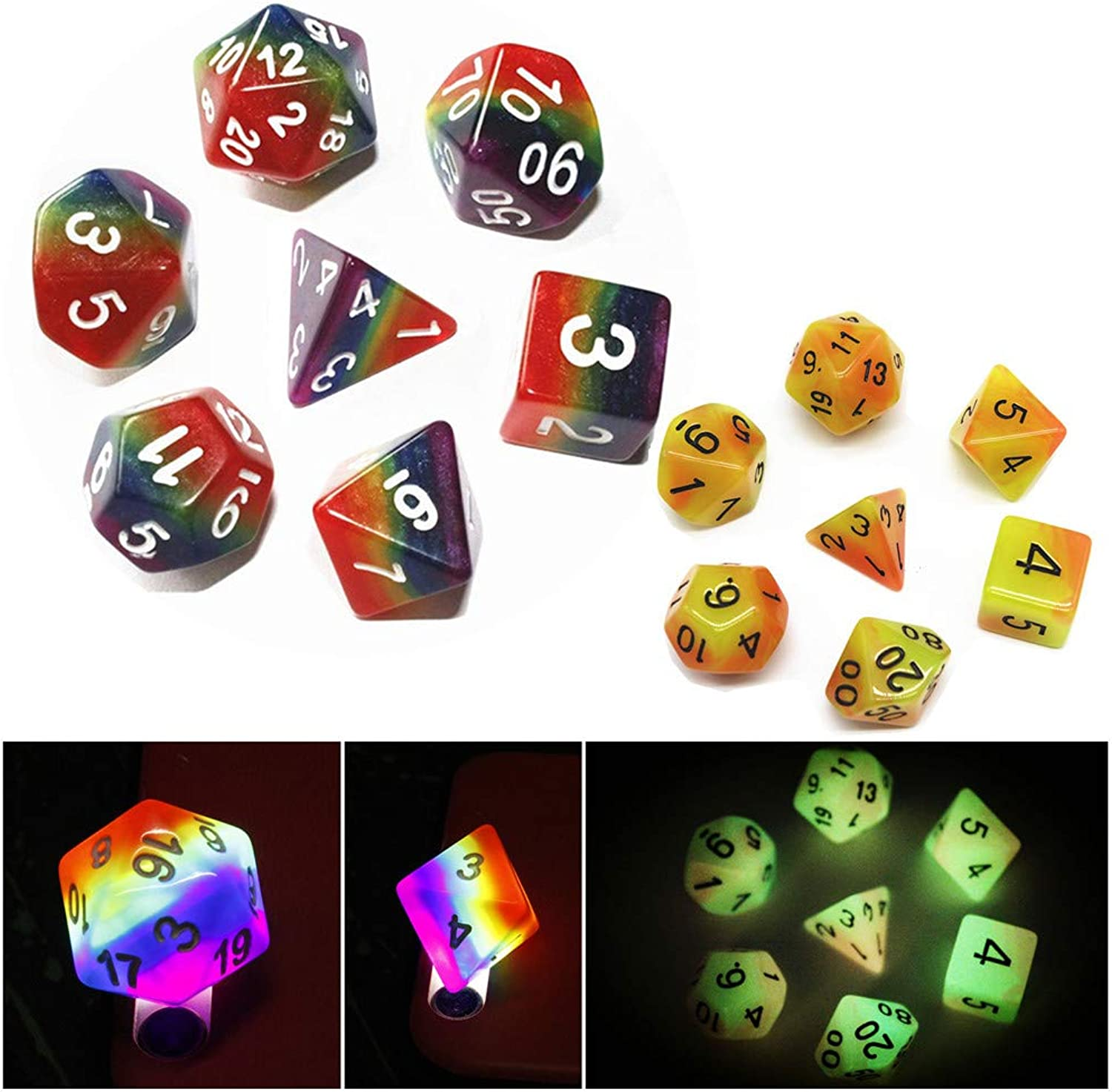 (Rainbow)  Game Dice Set Rainbow Polyhedral RPG Dice for Dungeons and Dragons(DND) Pathfinder Role Playing Game MTG Tabletop Dice 7Die Dice D20 D12 D10 D8 D6 D4