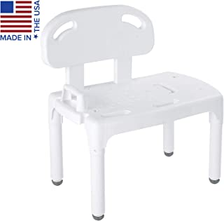 Carex Universal Tub Transfer Bench - Shower Bench and Bath Seat - Chair Converts to Right or Left Hand Entry