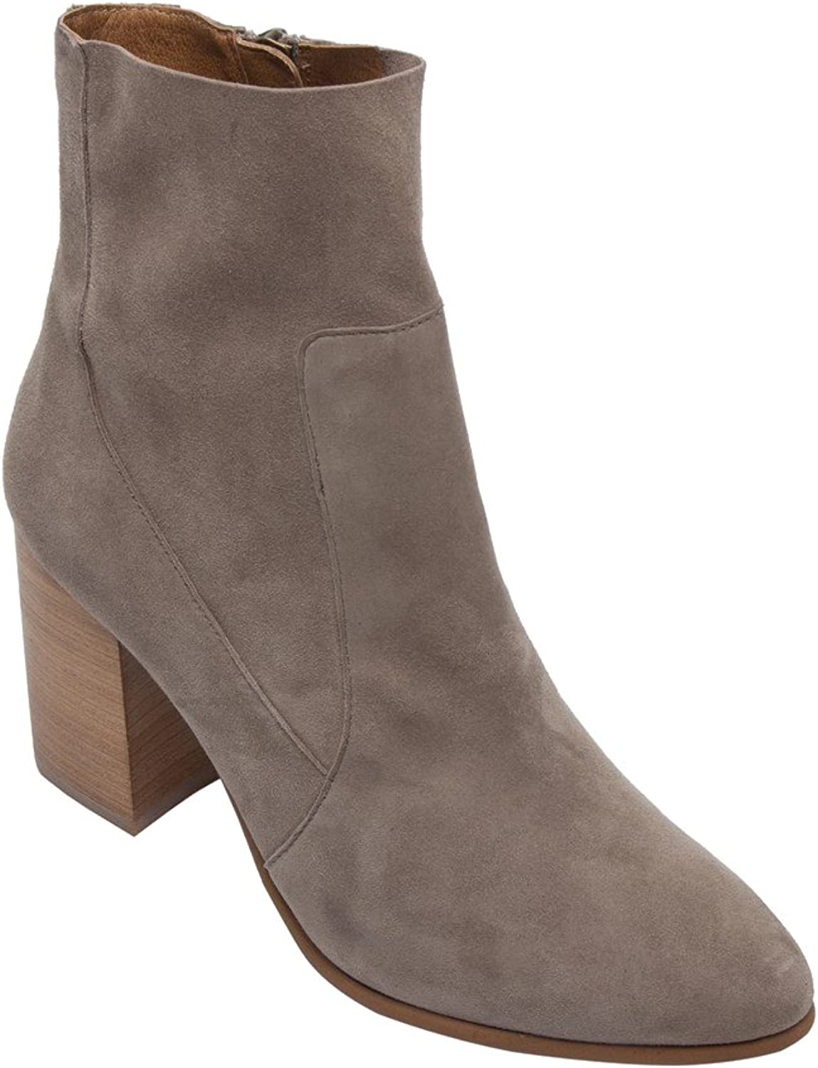PIC PAY Becca - Women's Mid Height Ankle Boot - Suede Leather Stacked Block Heel Zipper Bootie Grey Suede 5M
