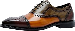 Zapatos de Vestir Tricolor Oxford Hombre con Cordones Cap Toe Brogue Formal Casual Cuero Derby Azul Marrón