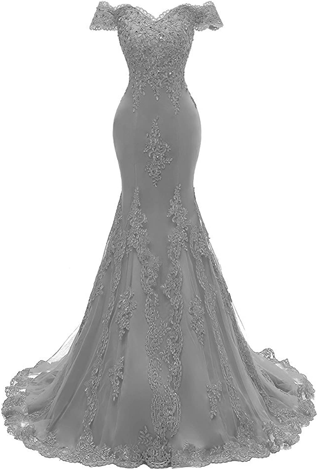 GURNALL Mermaid VNeck Evening Party Dress Beaded Lace Appliques Long Prom Gown