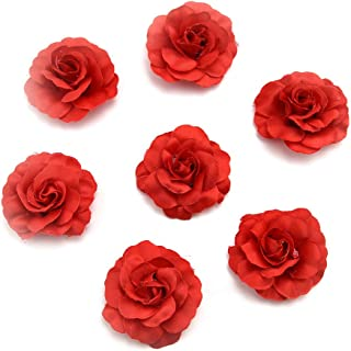 Fake flower heads in bulk Wholesale for Crafts DIY Artificial Silk Rose Peony Heads Decorative Stamen Fake Flowers for Wedding Home Birthday Decoration Vases Decor Supplies 30PCS 4.5cm (red)