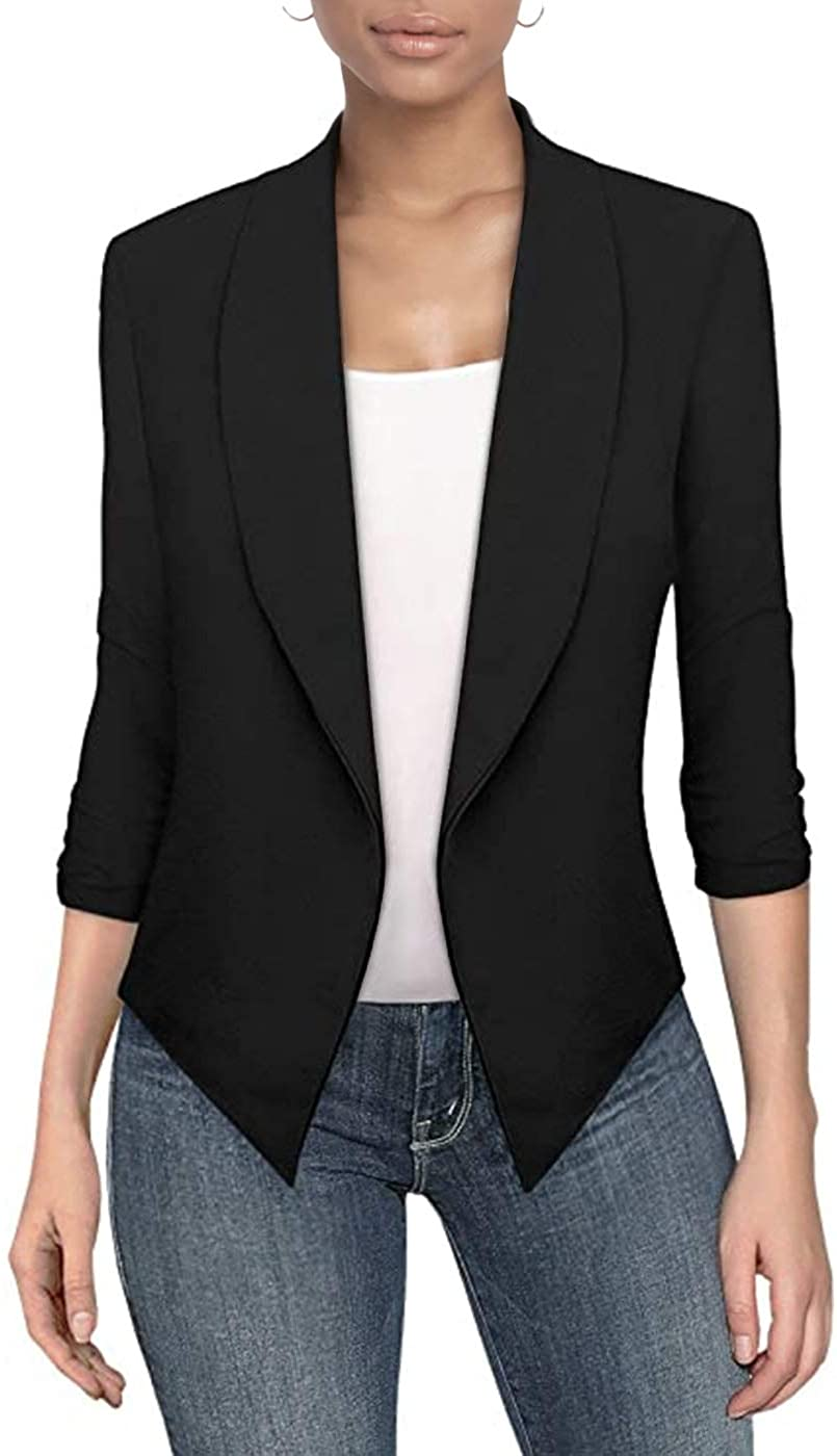 Hybrid & Company Womens Casual Work Office Open Front Blazer Jacket with Removable Shoulder Pads Made in USA at  Women's Clothing store