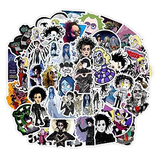 50 Stück Aufkleber Tim Burton Classic Movie Edward Scherenhände Graffiti Aufkleber für Skateboard, Laptop, Fahrrad, wasserdichte Aufkleber