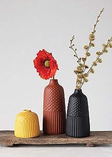 """Afloral Set of 3 Multi Matte Glazed Bud Vases - 5-10"""" Tall"""