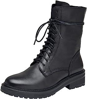 rismart Femme Bottes de Motard Cuir Mi-mollet Classique Combat Chaussures