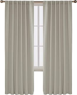 Deconovo Back Tab and Rod Pocket Solid Thermal Insulated Blackout Curtain and Drapes for Nursery Room 52W x 95L Inch Set of 2 Panels Light Beige