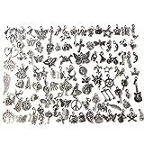 Accesorios para colgantes de bricolaje de aleación de plata profunda para hacer pulseras y joyas suministros (100 estilos)