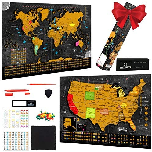 Scratch Off World Map Poster 17x24 Inches Bonus United States Map with Detailed Outlined States product image