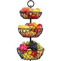 TORUBIA 3-Tier Detachable Metal Wire Countertop Fruit Basket Bowl Stand