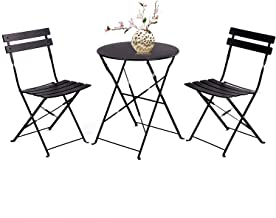 Grand patio 3 Piece Bistro Set, Weather-Resistant Folding Table and Chairs, Indoor/Outdoor Furniture Set (Black)