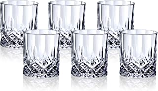 Crystal Glass Set of 6,11OZ Premium Lead Free Crystal Cups,Beer mug Rock Style Old Fashioned Glass For Drinking Scotch,Whisky For Party Perfect Gif