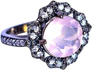 Ravishing Impressions Jewellery Atractivo anillo de plata de ley 925 de cuarzo rosa y topacio blanco, joyería de diseñado...