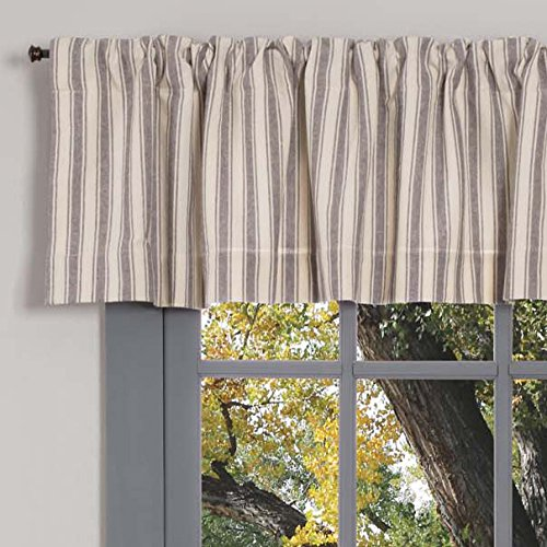"Market Place Gray Ticking Stripe Valance Curtain, 16"" L x 72"" W, Farmhouse Style, Grey & Cream"