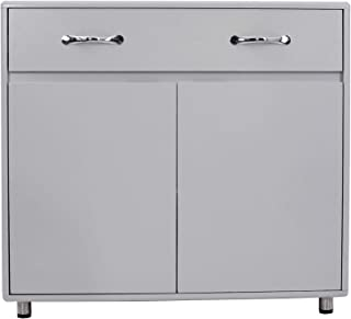 GLCHQ Storage Drawer File Cabinet nightstand Side Cabinet (Two Doors, Grey)