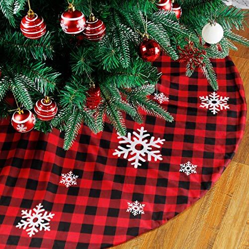 Falda de árbol de Navidad a cuadros de búfalo - Tapete de...