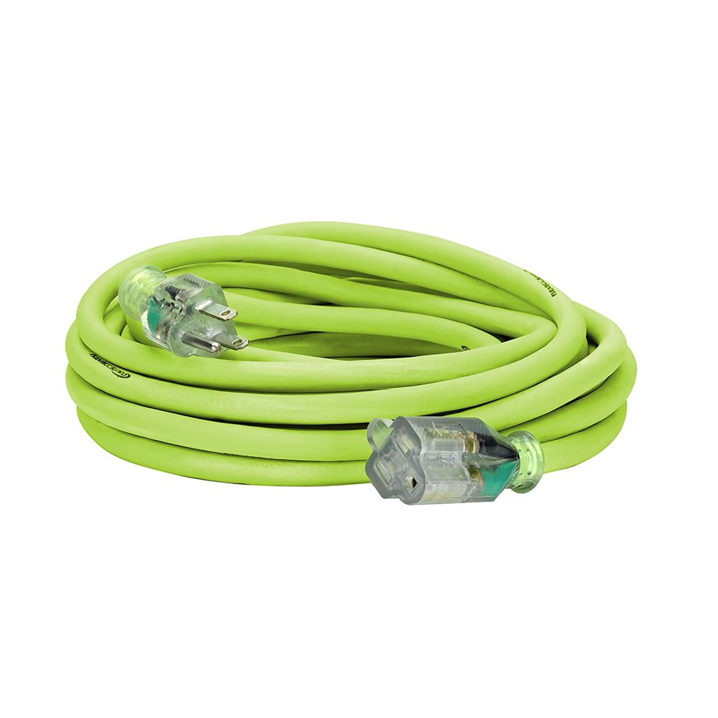 Flexzilla Pro Extension Cord, 12/3 AWG SJTW, 25 ft., Lighted Plug, Indoor/Outdoor, ZillaGreen - FZ512825
