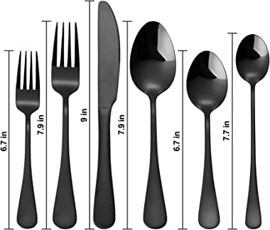 aafun Rose gold set, 24 pieces of stainless steel and copper cutlery set, 4-person cutlery set, mirror treatment, kitchen ute