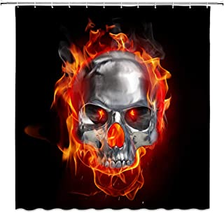 AMFD Flame Skull Shower Curtain Burning Metal Skull Fire Cool and Unique Tapestry Bathroom Curtains Polyester Fabric Waterproof 70 x 70 Inches Include Hooks Black Red