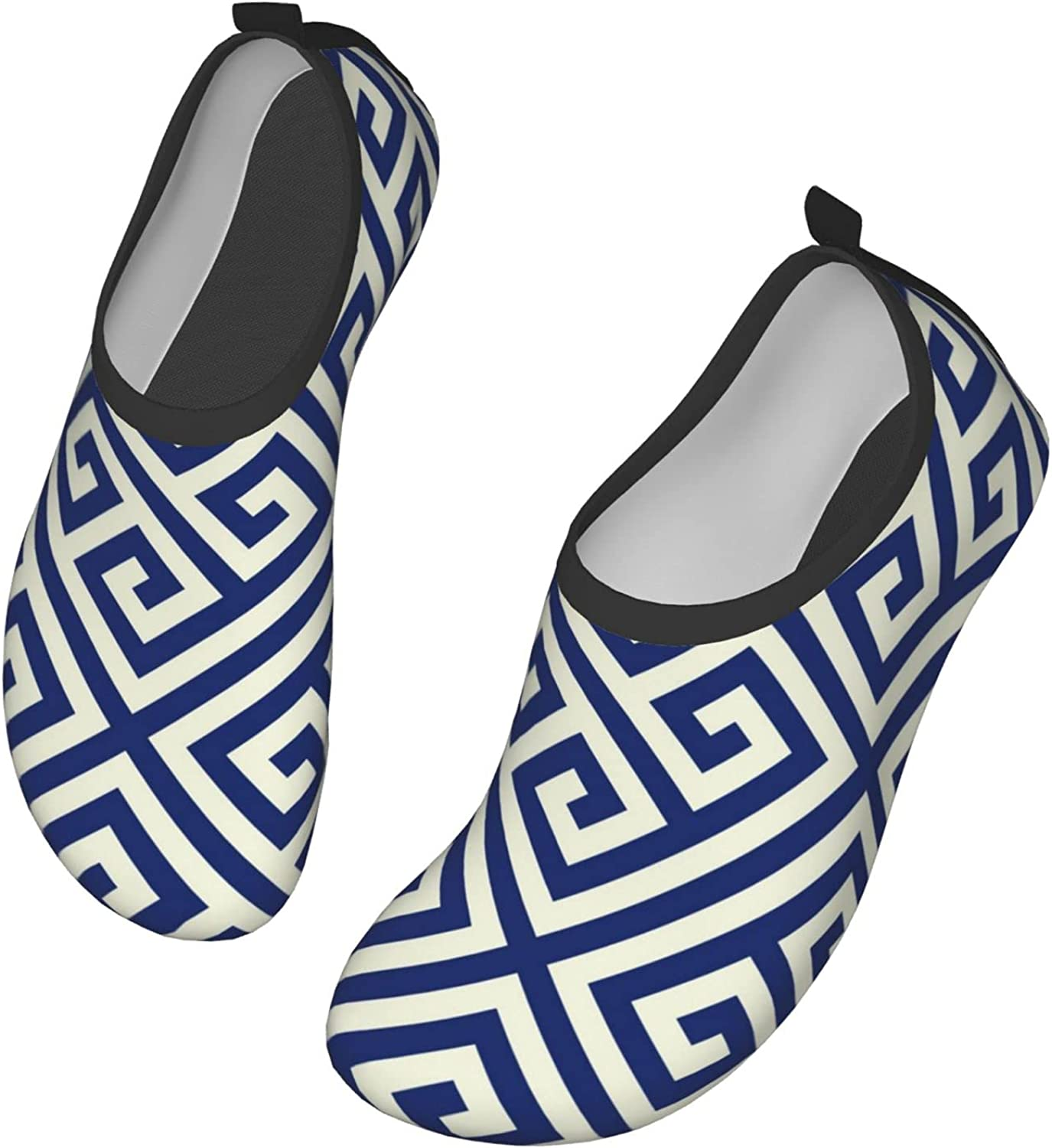 DISGOWONG Porcelain Indigo Blue and White Diagonal Ancient Greek Abstract Geometric Pattern Water Shoes Beach Swim Sports Quick-Dry Aqua Yoga Socks for Women and Men Outdoor Beach Pool Shoes 13 inch