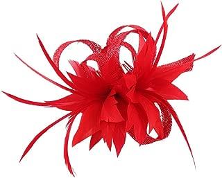 Womens Fascinators Cambric Headband Feather Hair Clip Fascinator Brooch Accessories
