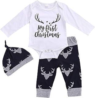 Geagodelia Babykleidung Set Baby Jungen Weihnachten Kleidung Weihnachtsoutfit Langarm Body Strampler  Hose Neugeborene Babyset My First Christmas