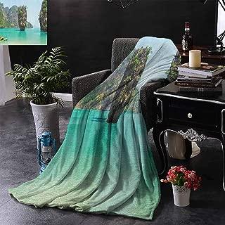 Kenneth Camilla Soft Lightweight Blanket Island,James Bond Stone Island Landscape in Tropical Beach Cruising Journey of Life Photo,Green Brown,Custom Design Cozy Flannel Blanket 50