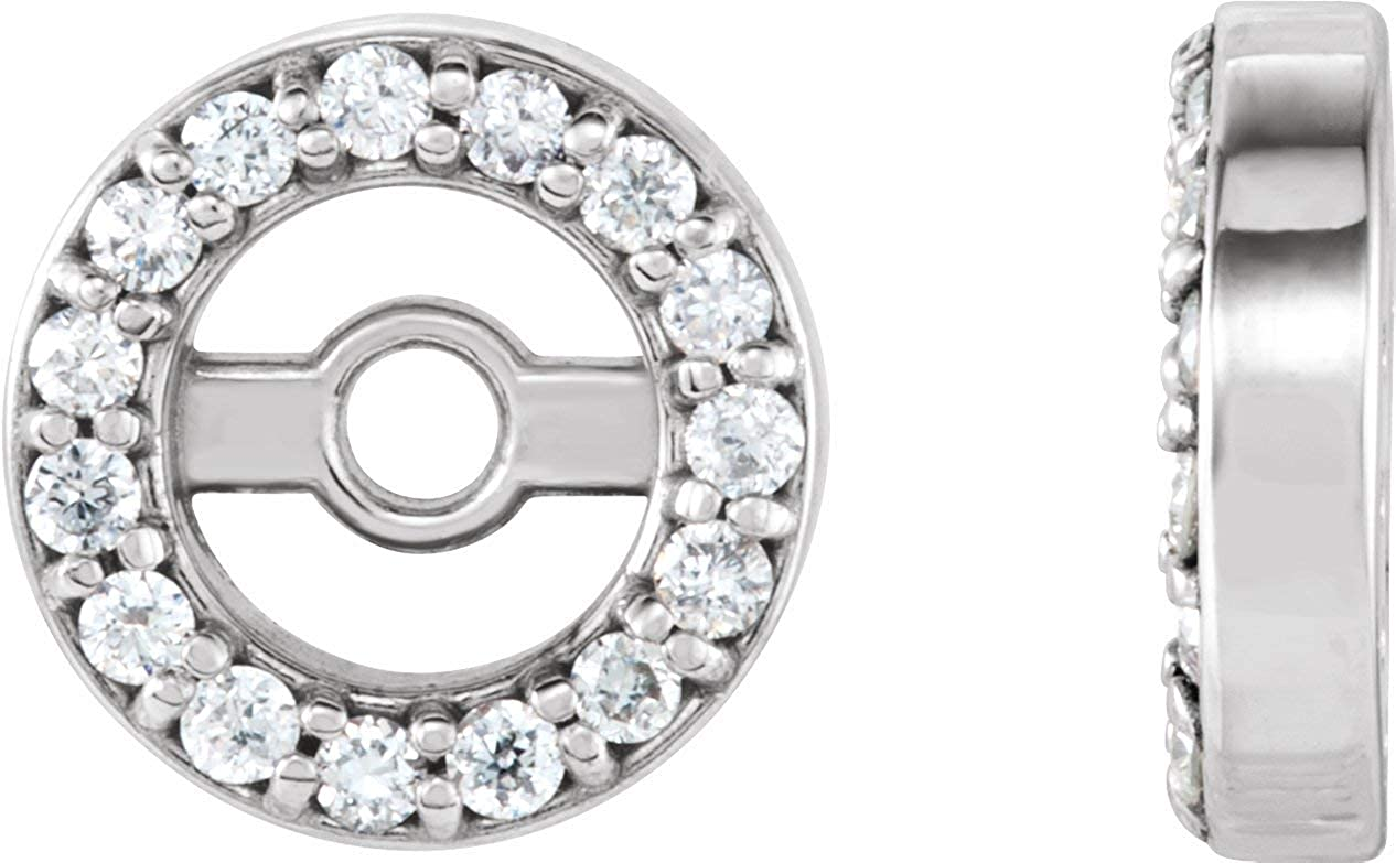 Diamond Earring Jackets with ID in Solid 14K White, Yellow Gold