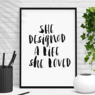 She Designed A Life She Loved Inspirational Quote Print Home Decor Typography Poster Watercolor Wall Art