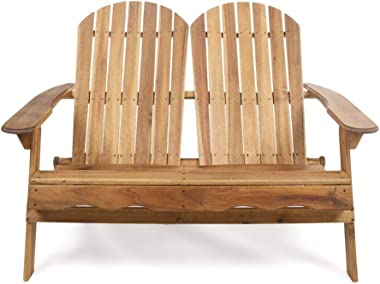 Christopher Knight Home Malibu Outdoor Acacia Wood Adirondack Loveseat, Natural Stained