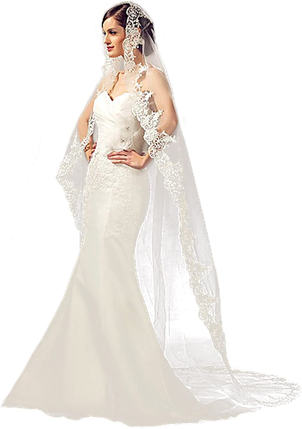 Barogirl Lace Wedding Veil Cathedral Length Ivory Bridal Veil with Comb, Ivory